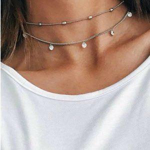 5 for $25 Silver Color Rhinestone Decor Necklace